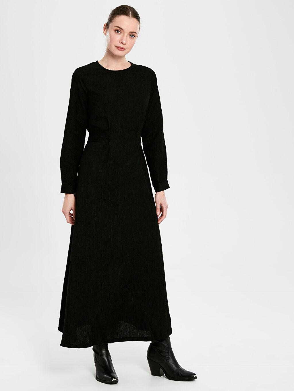 Siyah Kadife Uzun Kloş Elbise 9WS171Z8 LC Waikiki