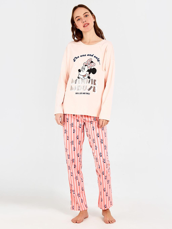%100 Pamuk Standart Pijamalar Minnie Mouse Baskılı Pamuklu Pijama Takımı