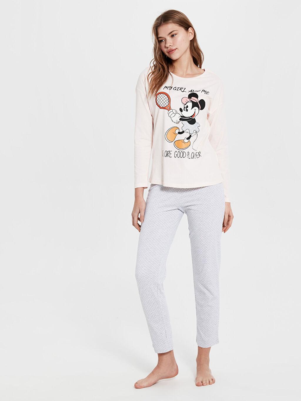 Gri Minnie Mouse Baskılı Pamuklu Pijama Takımı 9WS883Z8 LC Waikiki
