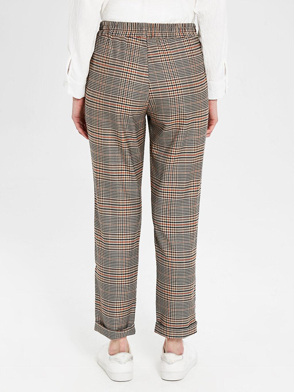 Kadın Lastikli Bel Ekoseli Pantolon