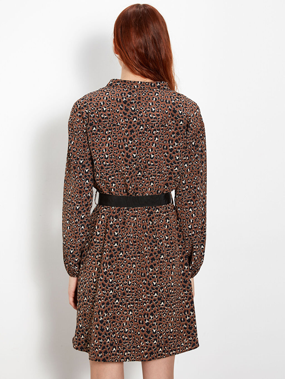Kadın Kemer Detaylı Desenli Elbise