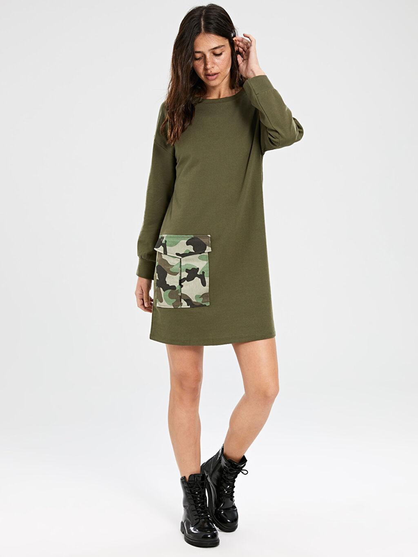 %50 Pamuk %50 Polyester Diz Üstü Desenli Uzun Kol Kamuflaj Cep Detaylı Elbise