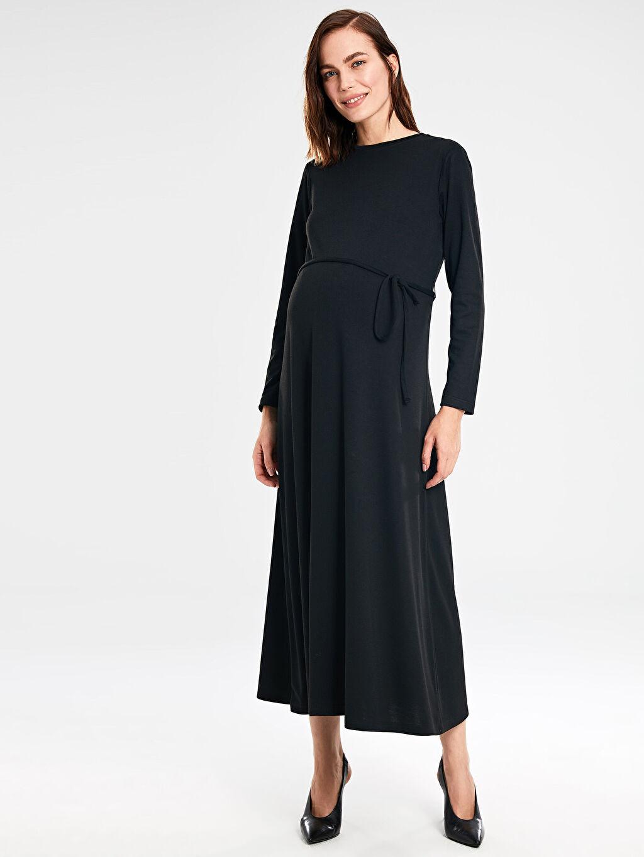 %64 Polyester %36 Viskon Elbise Bağlama Detaylı Hamile Elbise