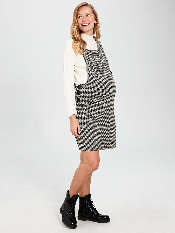 %67 Polyester %31 Viskoz %2 Elastan Elbise Hamile Kaz Ayağı Desenli Salopet Elbise