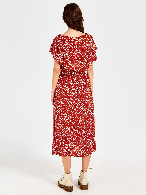 Kadın Fırfır Detaylı Desenli Kemerli Elbise