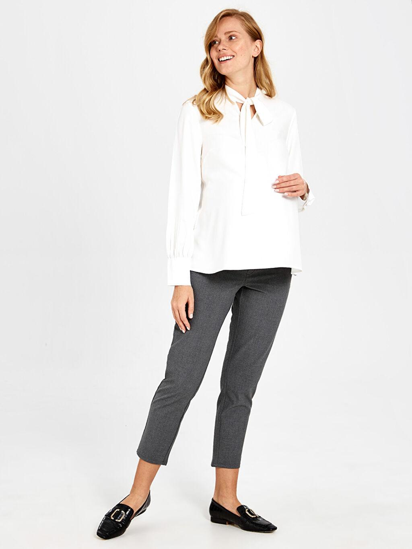 %62 Polyester %33 Viskon %5 Elastan Pantolon Hamile Bilek Boy Havuç Pantolon