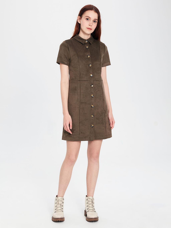 %89 Polyester %11 Elastan Diz Üstü Düz Kısa Kol Esnek Düğme Detaylı Elbise