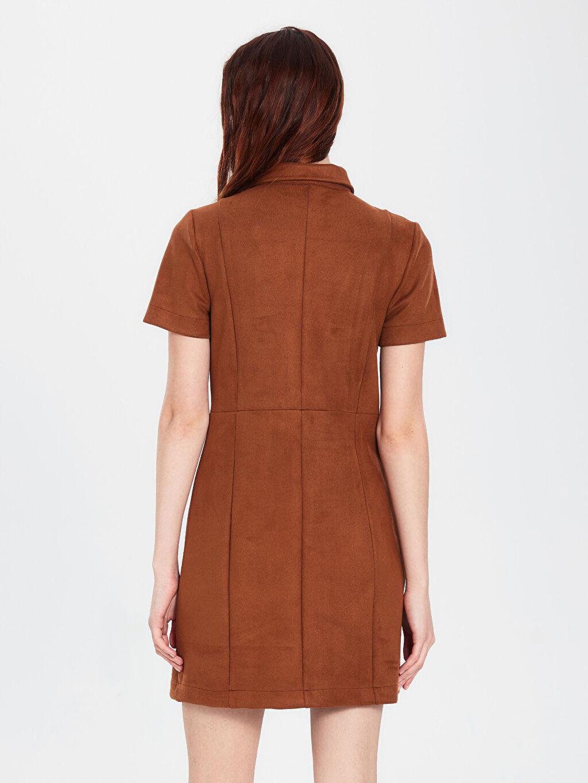 Kadın Esnek Düğme Detaylı Elbise