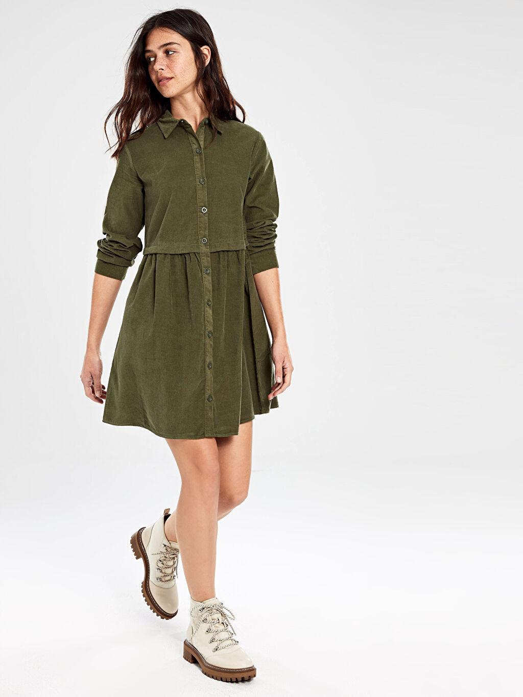 %100 Pamuk Diz Üstü Desenli Uzun Kol Düğmeli Kadife Mini Elbise