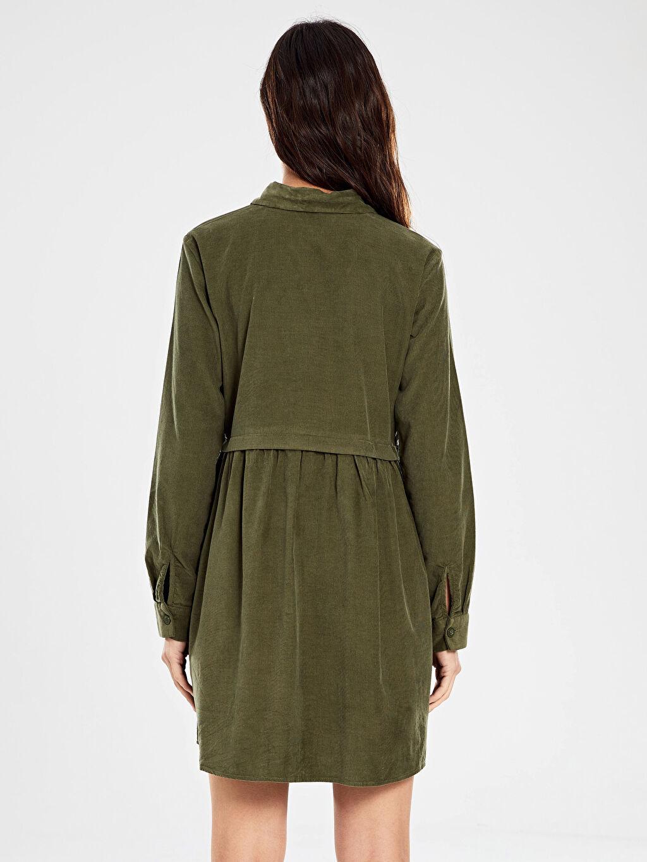 %100 Pamuk Düğmeli Kadife Mini Elbise