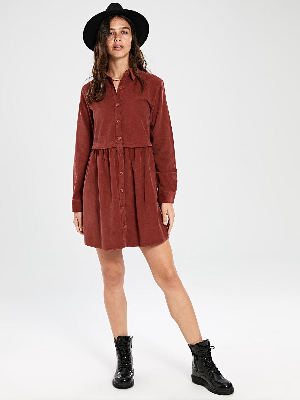 Kadın Düğmeli Kadife Mini Elbise
