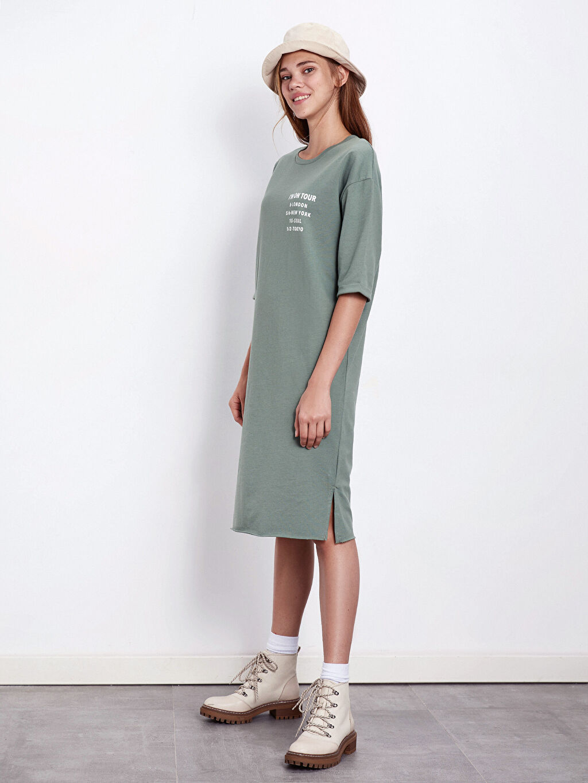 Kadın Yazı Baskılı Pamuklu Elbise