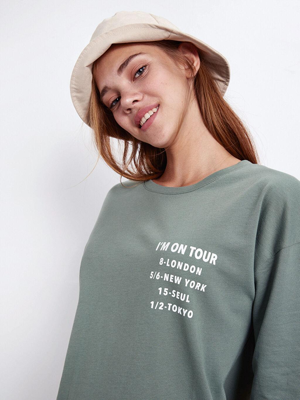 %100 Pamuk Yazı Baskılı Pamuklu Elbise