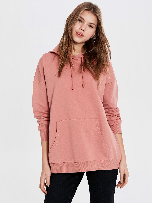 Kadın Kapüşonlu Düz Sweatshirt