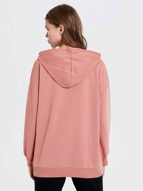 %48 Pamuk %52 Polyester Kapüşonlu Düz Sweatshirt