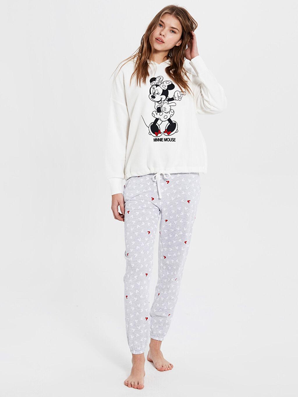 Gri Minnie Mouse Baskılı Kapüşonlu Pijama Takımı 9WU836Z8 LC Waikiki