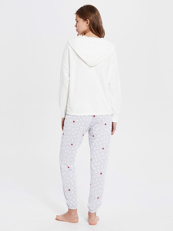 Kadın Minnie Mouse Baskılı Kapüşonlu Pijama Takımı