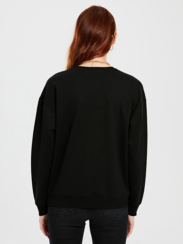 %50 Pamuk %50 Polyester Mickey Mouse Baskılı Sweatshirt