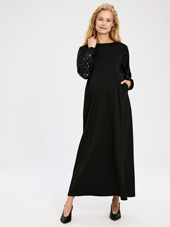 %95 Polyester %5 Elastan Elbise Kolları Pul Nakışlı Uzun Hamile Abiye Elbise
