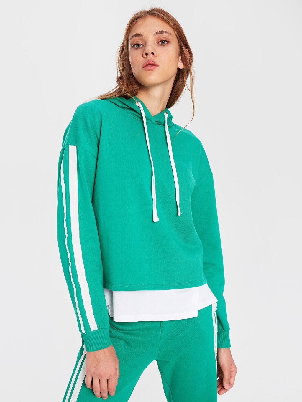 Yeşil Şerit Detaylı Sweatshirt 9WU919Z8 LC Waikiki
