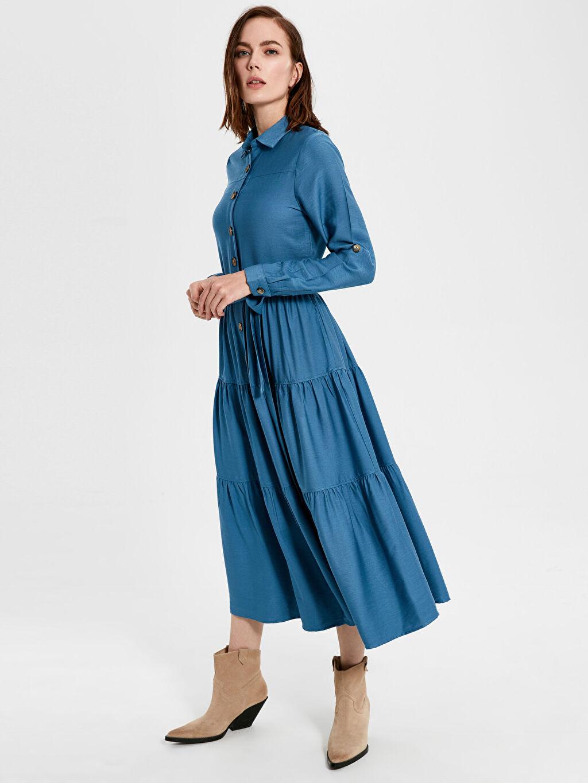 %70 Pamuk %30 Viskoz Uzun Düz Uzun Kol Düğme Detaylı Kuşaklı Uzun Elbise