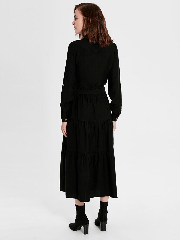 Kadın Düğme Detaylı Kuşaklı Uzun Elbise