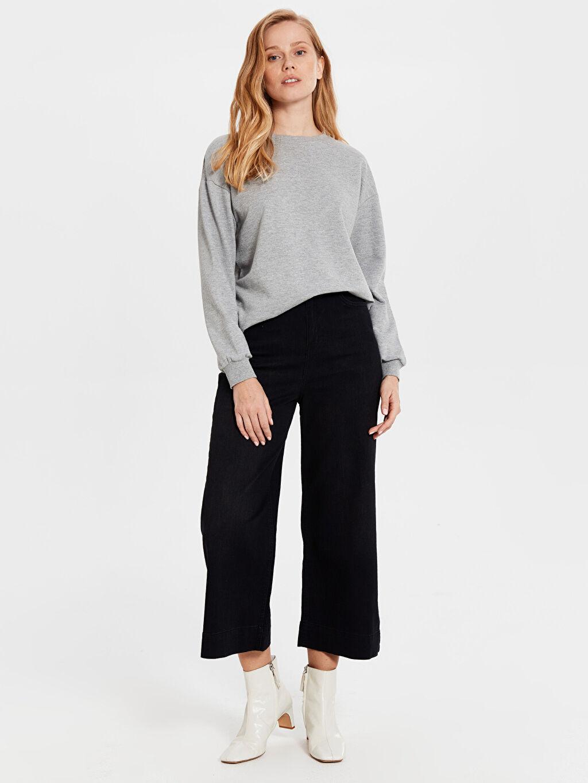%98 Pamuk %2 Elastan Yüksek Bel Standart Esnek Pantolon Geniş Paça Jean Pantolon