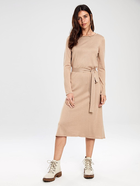 Kadın Kuşaklı Triko Elbise