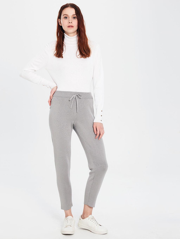%49 Akrilik %51 Viskoz Standart Triko Lastikli Bel Pantolon Bağlama Detaylı Triko Pantolon