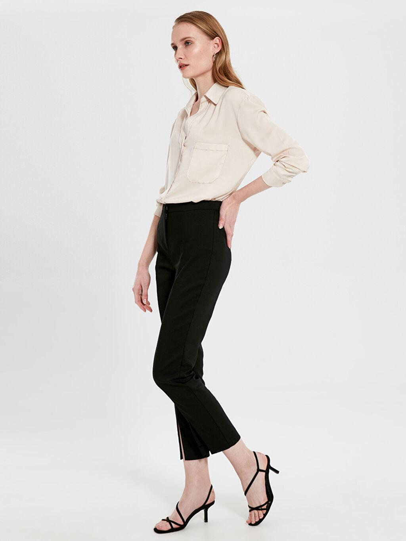 %54 Pamuk %42 Polyester %4 Elastan Normal Bel Esnek Dar Kısa Paça Kumaş Pantolon Bilek Boy Kumaş Pantolon