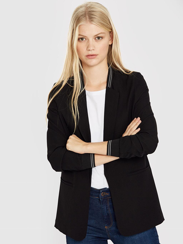 Orta İnce Ceket Quzu Şerit Detaylı Blazer Ceket