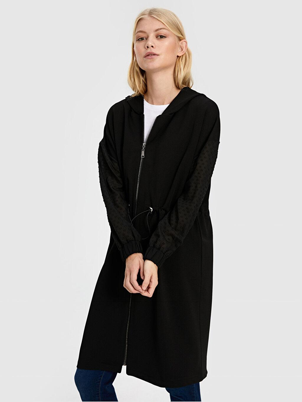 Uzun Orta Ceket Quzu Garnili Uzun Ceket