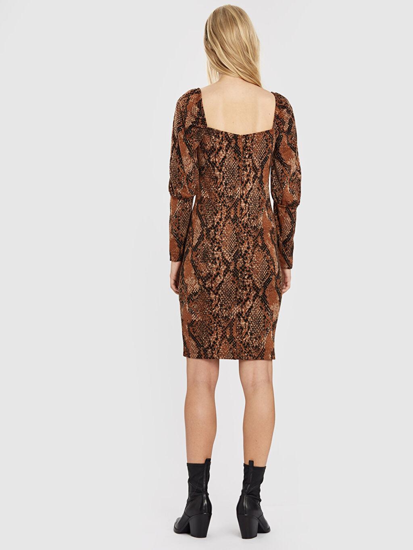 Kadın Quzu Karpuz Kol Yılan Derisi Desenli Elbise