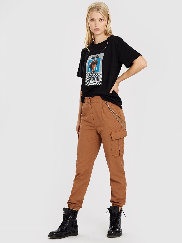Yüksek Bel Kargo Pantolon Quzu Zincir Detaylı Kargo Pantolon
