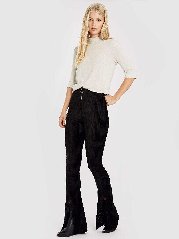 Yüksek Bel Esnek Standart İspanyol Paça Pantolon Quzu Yırtmaç Detaylı Pantolon