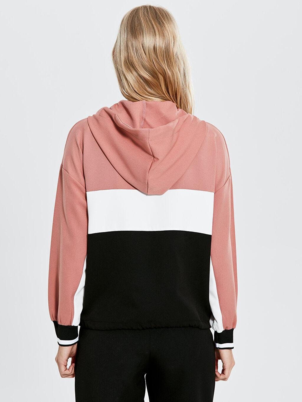 Kadın Nisan Triko Renk Bloklu Kapüşonlu Sweatshirt