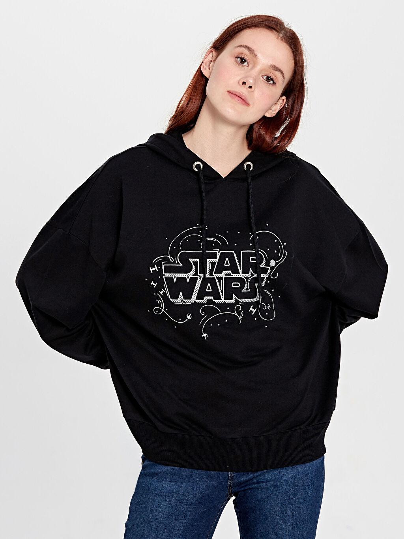 %100 Pamuk  Star Wars Baskılı Kapüşonlu Sweatshirt