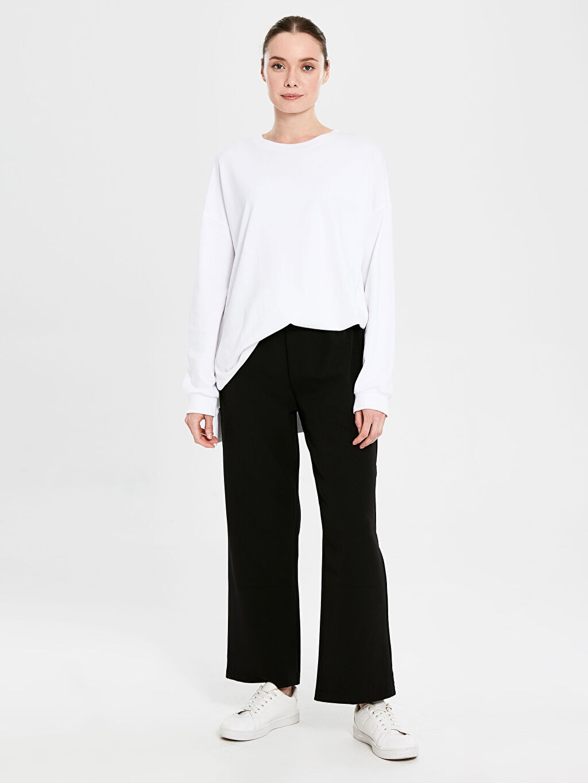 %87 Polyester %13 Elastan Esnek Standart Normal Bel Geniş Paça Pantolon Geniş Paça Esnek Pantolon