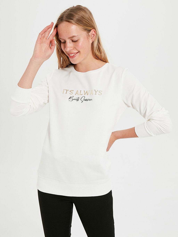 %100 Pamuk  Slogan Baskılı Sweatshirt