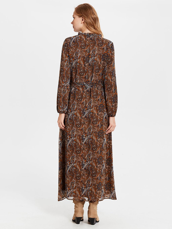 Kadın Fırfır Detaylı Çiçek Desenli Şifon Elbise