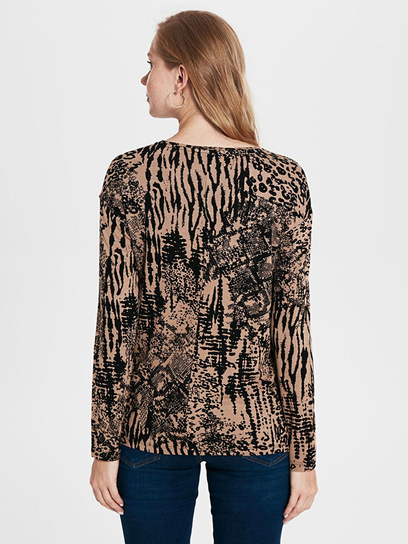 Kadın Desenli Viskon Tişört