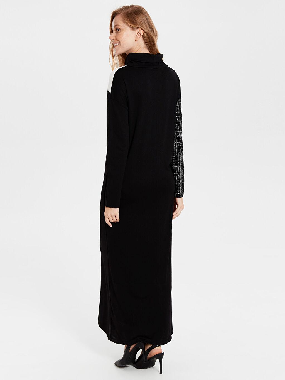 %26 Polyester %70 Viskoz %4 Elastan Uzun Desenli Uzun Kol Renk Bloklu Oversize Elbise