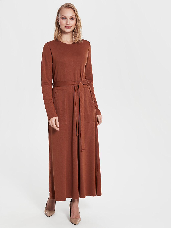 %28 Polyester %2 Elastan %70 Viskoz Uzun Düz Uzun Kol Hamile Kuşaklı Elbise