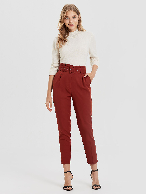Yüksek Bel Dar Paça Kemerli Pantolon Sateen Kemerli Yüksek Bel Pantolon