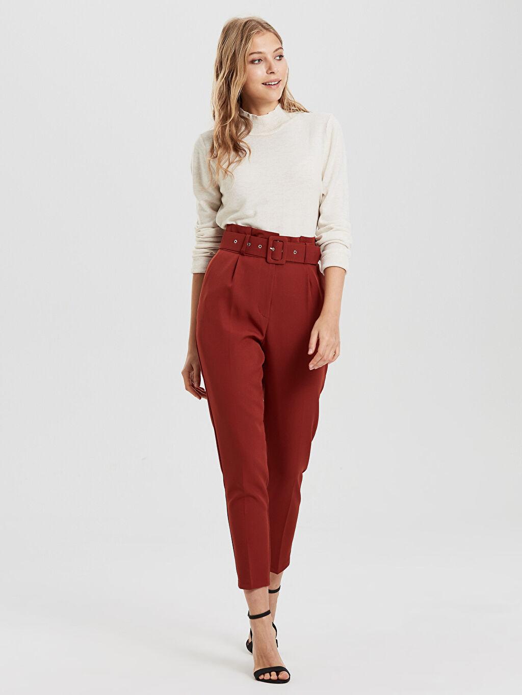 Kadın Sateen Kemerli Yüksek Bel Pantolon