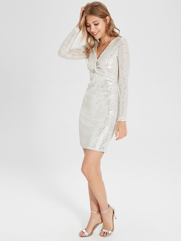 Kadın Sateen V Yaka Payet Elbise