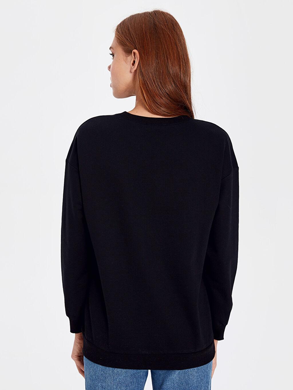 %50 Pamuk %50 Polyester Yazı Baskılı Sweatshirt