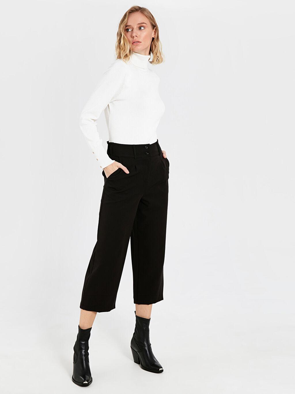 %87 Poliester %13 Elastane Standart Yüksek Bel Kısa Paça Kumaş Pantolon Kısa Paça Kumaş Pantolon