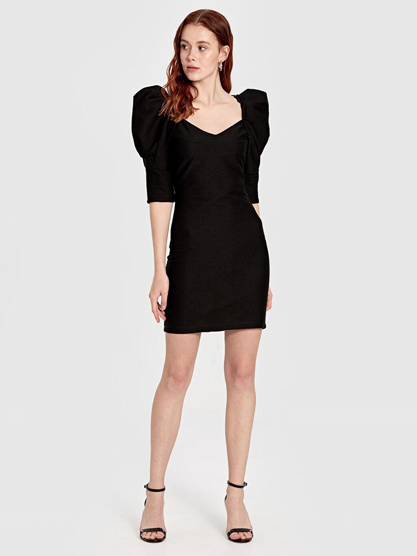 Siyah Quzu Balon Kol Mini Elbise 9WY885Z8 LC Waikiki
