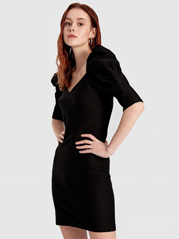 Kadın Quzu Balon Kol Mini Elbise
